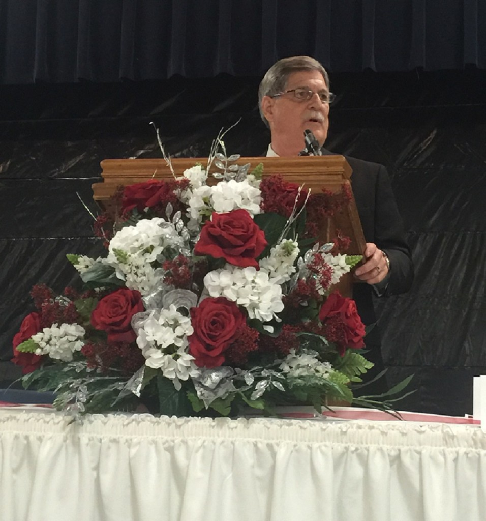 City of Gonzales Mayor Barney Arceneaux addresses the crowd on the importance of loving one another.
