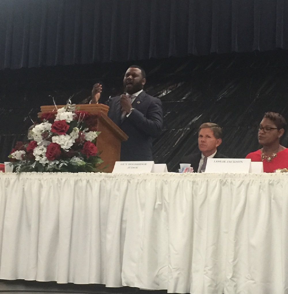 Reverend Chris Plant with the First Pilgrim Calvary Missionary Baptist Church in Geismar provided uplifting songs for the audience's enjoyment.
