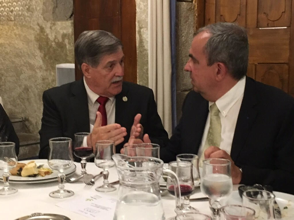 Gonzales Mayor Barney Arceneaux is seen discussing economic development strategies with Meylan, France Mayor Damien Guiguet.